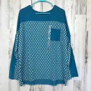 Jockey | White&Blue Boho Long Sleeve Top NWT XL